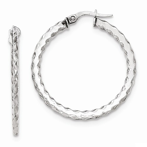 14kt White Gold 1 3/8in Italian Scalloped Round Hoop Earrings