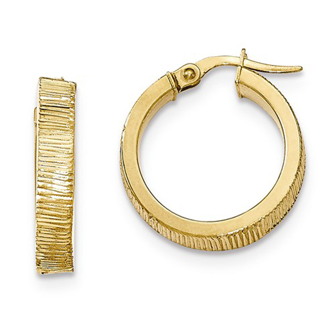 14kt Yellow Gold 3/4in Italian Lined Round Hoop Earrings