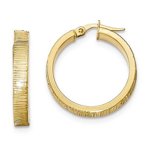14kt Yellow Gold 1in Italian Lined Round Hoop Earrings