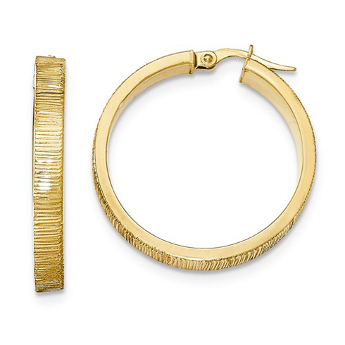 14kt Yellow Gold 1 1/4in Italian Lined Round Hoop Earrings