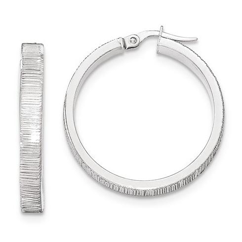 14kt White Gold 1 1/4in Italian Lined Round Hoop Earrings