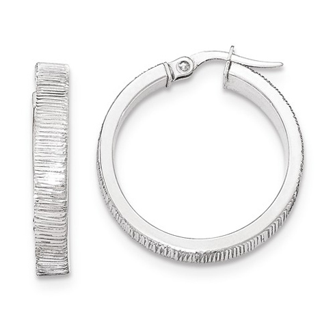 14kt White Gold 1in Italian Lined Round Hoop Earrings