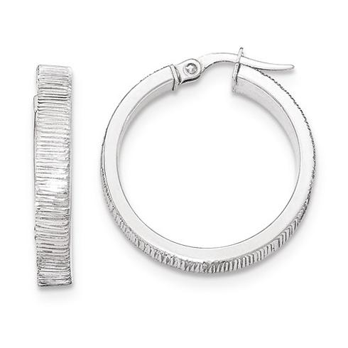 14kt White Gold 1in Italian Lined Round Hoop Earrings