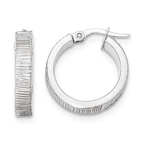 14kt White Gold 3/4in Italian Lined Round Hoop Earrings