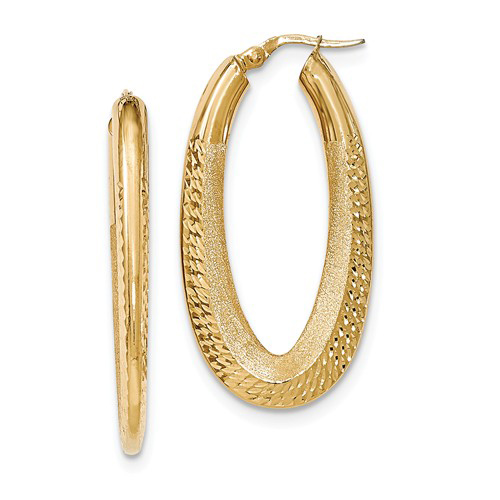14kt Yellow Gold 1in Italian Diamond-cut Oval Polished and Textured Earrings