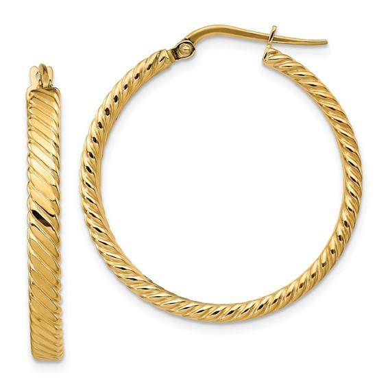 14kt Yellow Gold 1 1/4in Italian Striped Round Hoop Earrings