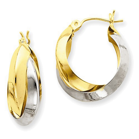 14kt Two-tone Gold 3/4in Knife Edge Double Hoop Earrings 8mm