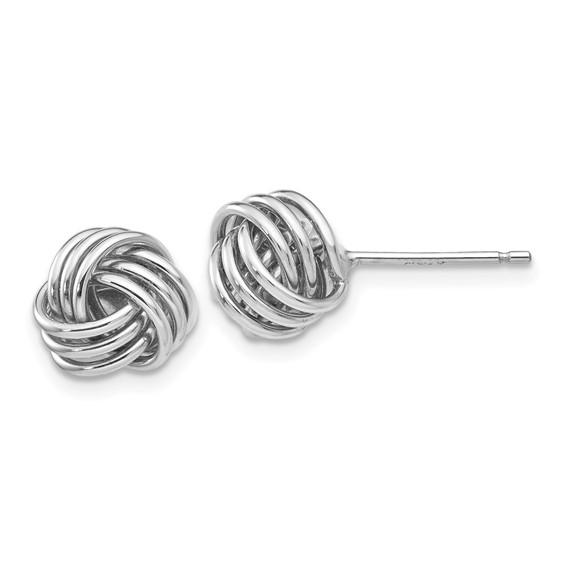 14kt White Gold Ridged Love Knot Earrings