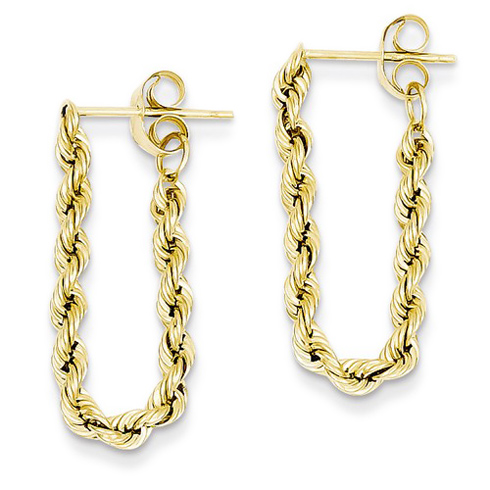 14kt Yellow Gold 7/8in Hollow Rope Earrings