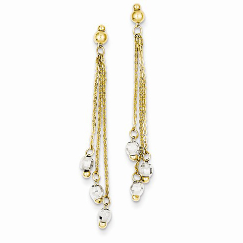 14kt Two-tone Gold Cable Chain Earrings with Faceted Beads