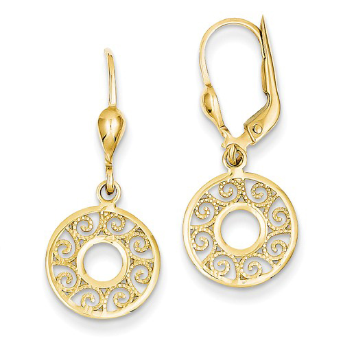 14kt Yellow Gold 1 1/4in Dangle Circle Filigree Leverback Earrings