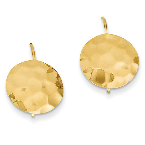 14kt Yellow Gold 1/2in Hammered Circle Earrings