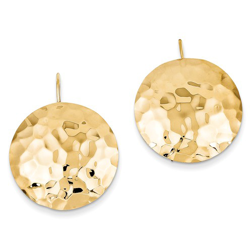 14kt Yellow Gold 1in Hammered Circle Earrings