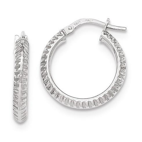14kt White Gold 3/4in Italian Beveled Ridged Round Hoop Earrings
