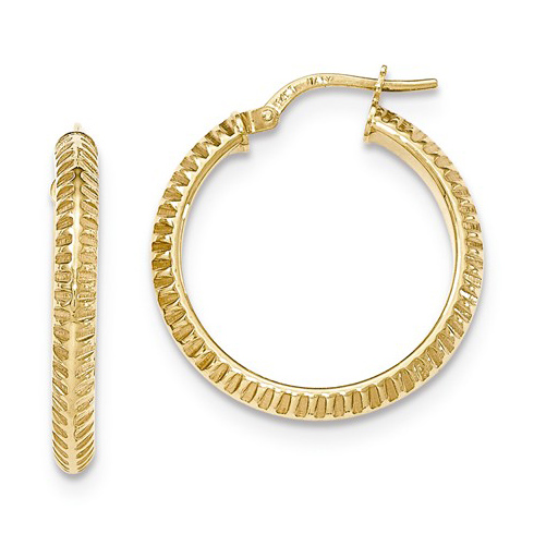14kt Yellow Gold 1in Italian Beveled Ridged Round Hoop Earrings