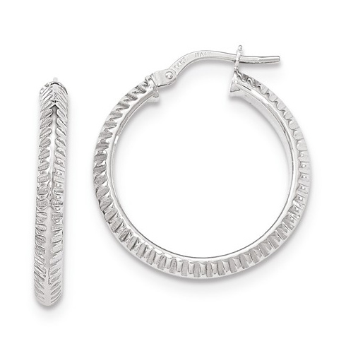 14kt White Gold 1in Italian Beveled Ridged Round Hoop Earrings