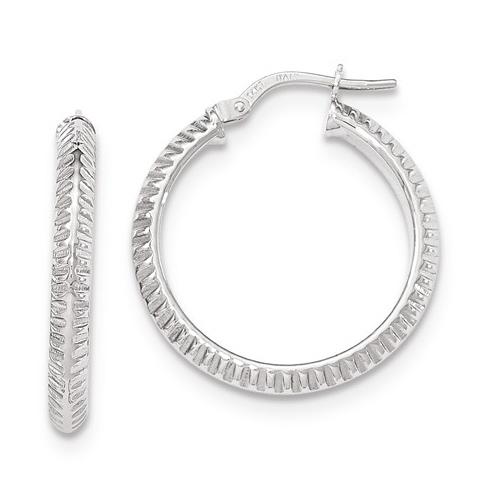 14kt White Gold 1in Italian Beveled Ridged Round Hoop Earrings