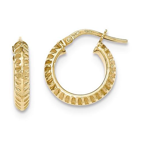 14kt Yellow Gold 5/8in Italian Beveled Ridged Round Hoop Earrings