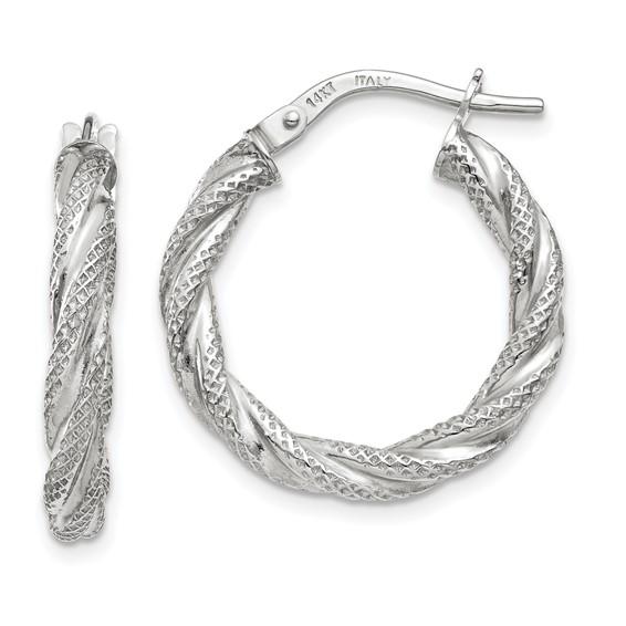 14kt White Gold 7/8in Italian Twisted Hoop Earrings