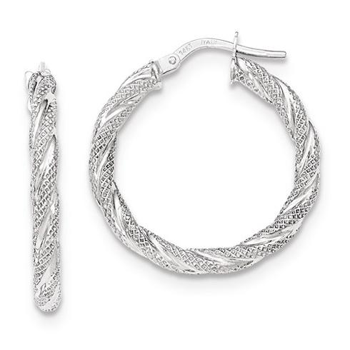 14kt White Gold 1in Italian Twisted Hoop Earrings