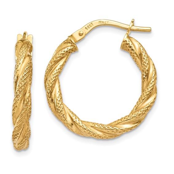 14kt Yellow Gold 7/8in Italian Twisted Hoop Earrings