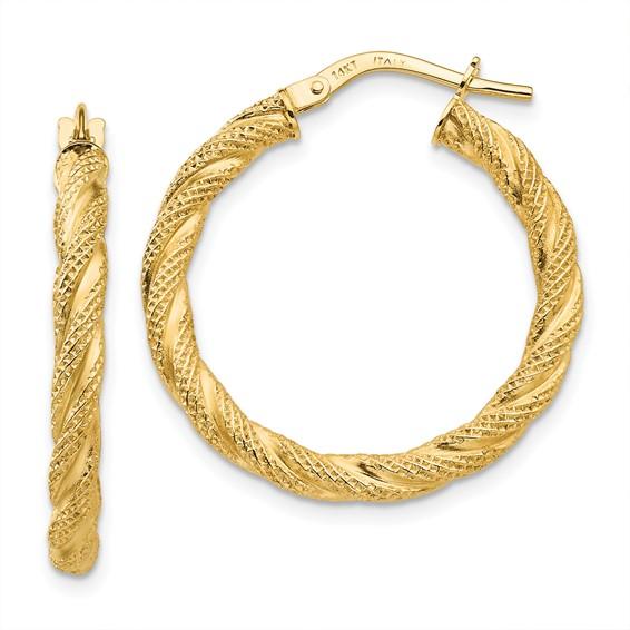 14kt Yellow Gold 1in Italian Twisted Hoop Earrings