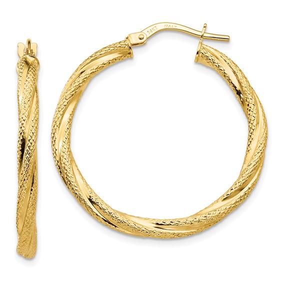 14kt Yellow Gold 1 1/4in Italian Twisted Hoop Earrings