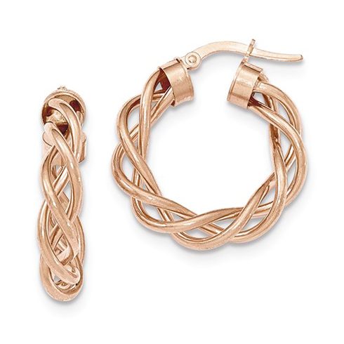 14kt Rose Gold 1in Italian Open Twisted Hoop Earrings