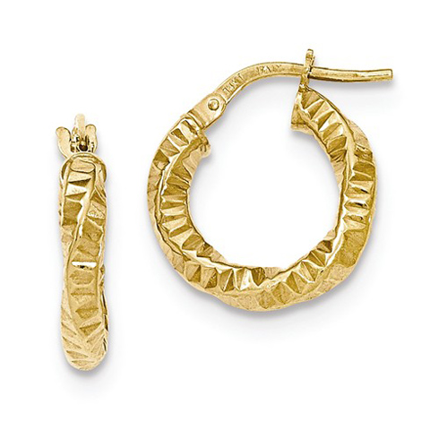 14kt Yellow Gold 5/8in Rippled Twist Hoop Earrings