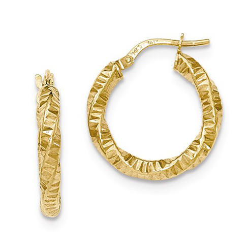 14kt Yellow Gold 3/4in Rippled Twist Hoop Earrings