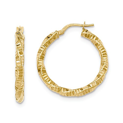 14kt Yellow Gold 1 1/8in Rippled Twist Hoop Earrings