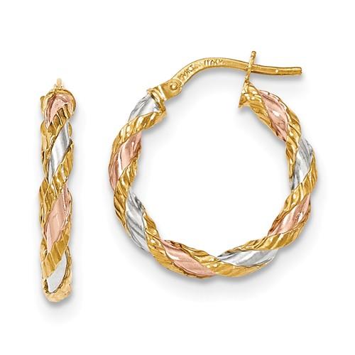 14kt Tri-tone Gold 7/8in Italian Twisted Hoop Earrings