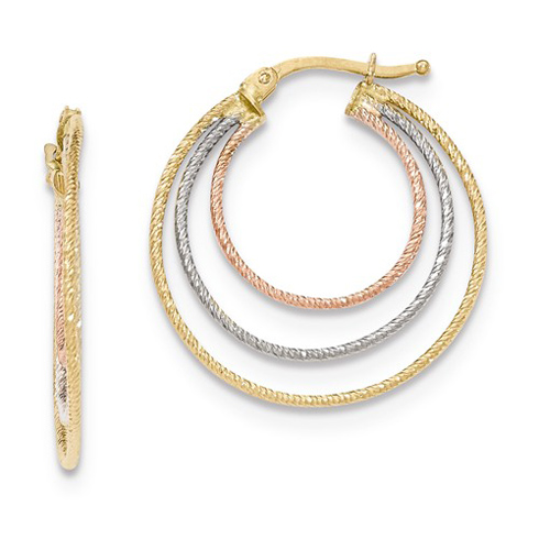14kt Tri-color Gold 1in Italian Nested Hoop Earrings