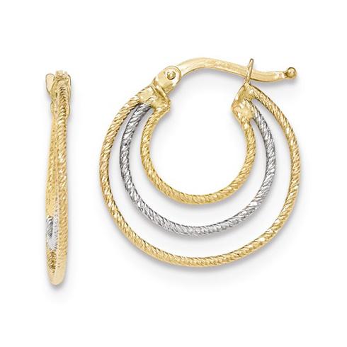 14kt Two-tone Gold 7/8in Italian Nested Hoop Earrings