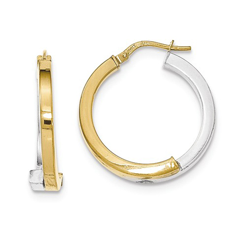 14kt Two-tone Gold 1in Italian Square Tube Earrings