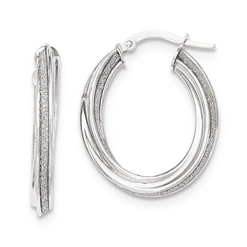 14kt White Gold 1in Italian Glitter Twist Oval Hoop Earrings