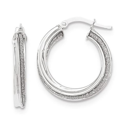14kt White Gold 7/8in Italian Glitter Twist Round Hoop Earrings