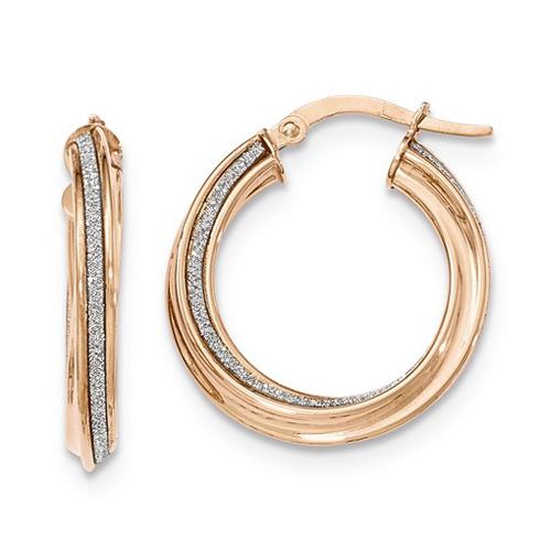 14kt Rose Gold 7/8in Italian Glitter Twist Round Hoop Earrings