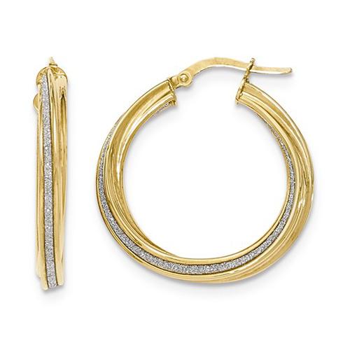 14kt Yellow Gold 1 1/8in Italian Glitter Twist Round Hoop Earrings