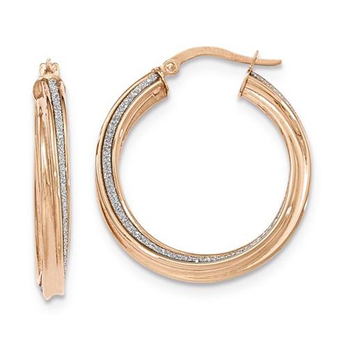 14kt Rose Gold 1 1/8in Italian Glitter Twist Round Hoop Earrings