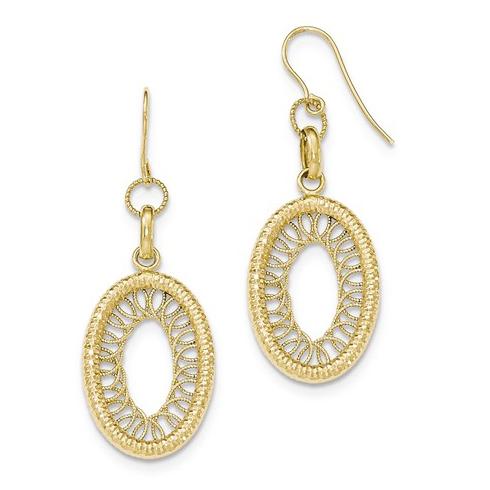 14kt Yellow Gold 2in Italian Textured Oval Shepherd Hook Earrings