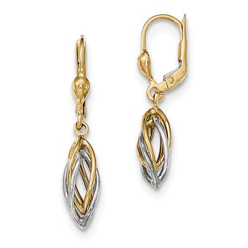 14kt Two-tone Gold 1 1/4in Dangle Leverback Earrings