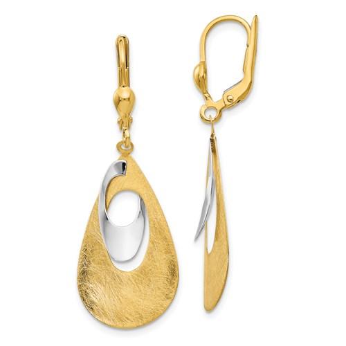 14kt Two-tone Gold Brushed Tear Drop Leverback Earrings