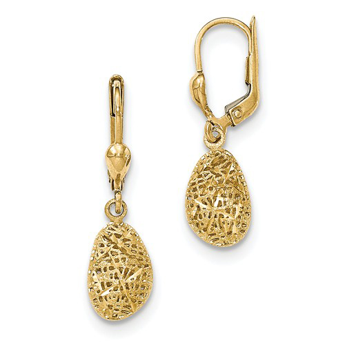 14kt Yellow Gold 1 1/4in Puff Dangle Leverback Earrings