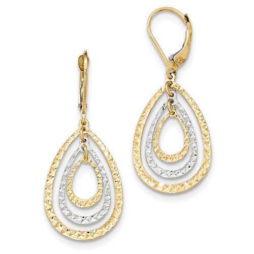 14kt Two-tone Gold Nested Tear Drop Diamond-cut Leverback Earrings