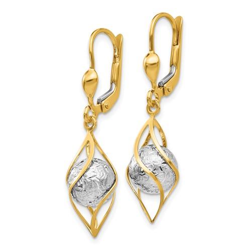 14kt Two-tone Gold 1 1/4in Fancy Orb Leverback Dangle Earrings