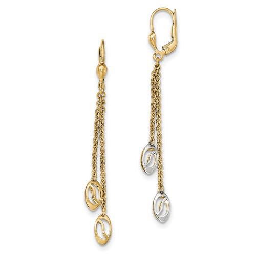 14kt Two-tone Gold 2 3/8in Dangle Chain Leverback Reversible Drop Earrings