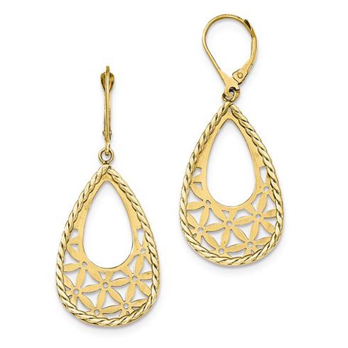 14kt Yellow Gold 2in Italian Floral Motif Leverback Earrings
