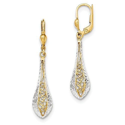 14kt Two-tone Gold 1 3/4in Dangle Filigree Teardrop Leverback Earrings