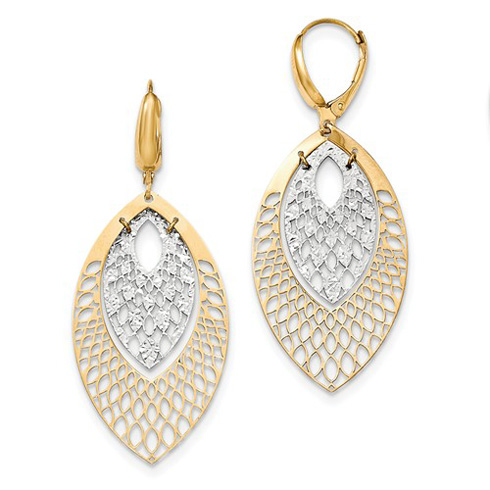 14kt Two-tone Gold 2 1/4in Italian Nested Peacock Leverback Earrings